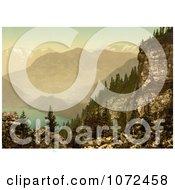 Photochrom Of Lake Lucerne And Mount Pilatus Royalty Free Historical Stock Photography