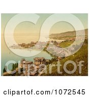 Photochrom Of Lakefront Buildings Montreux And Clarens Switzerland Royalty Free Historical Stock Photography