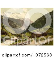 Photochrom Of Lauterbrunnen Valley In Switzerland Royalty Free Historical Stock Photography by JVPD