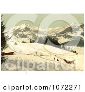 Photochrom Of Leysin Chaussy And The Ormont Valley In Winter Royalty Free Historical Stock Photography by JVPD