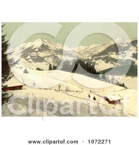 Photochrom of Leysin, Chaussy and the Ormont Valley in Winter - Royalty Free Historical Stock Photography by JVPD