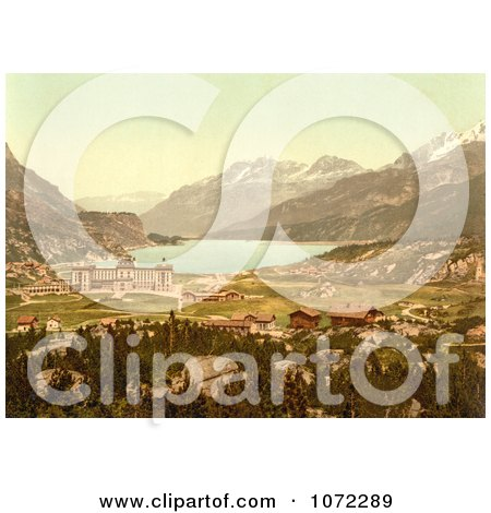 Photochrom of Maloja in Switzerland - Royalty Free Historical Stock Photography by JVPD