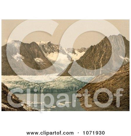 Photochrom of Marjelensee Glacier, Switzerland - Royalty Free Historical Stock Photo by JVPD