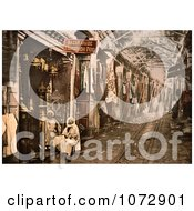 Photochrom Of Men At Storefront In Tunis Tunisia Royalty Free Historical Stock Photography by JVPD