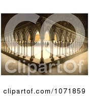 Photochrom Of Monks Promenade With Arcade And Pillars Mont Saint Michel France Royalty Free Historical Stock Photo