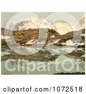 Photochrom Of Monte Rosa Reflecting In Riffel Lake Switzerland Royalty Free Historical Stock Photography