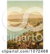 Photochrom Of Montreux And Clarens Lake Geneva Switzerland Royalty Free Historical Stock Photography