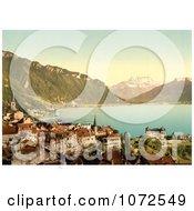 Photochrom Of Montreux On The Shore Of Geneva Lake Switzerland Royalty Free Historical Stock Photography