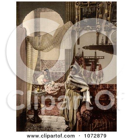 Photochrom of Moorish Women Indoors, Algeria - Royalty Free Historical Stock Photography by JVPD