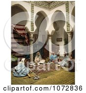 Photochrom Of Moorish Women Making Carpets Algeria Royalty Free Historical Stock Photography by JVPD