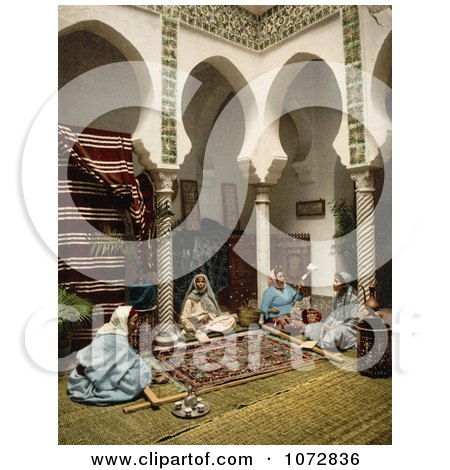 Photochrom of Moorish Women Making Carpets, Algeria - Royalty Free Historical Stock Photography by JVPD