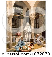 Photochrom Of Moorish Women Preparing Couscous Algeria Royalty Free Historical Stock Photography