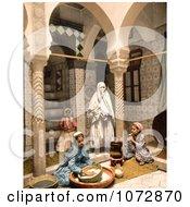 Photochrom Of Moorish Women Preparing Couscous Algeria Royalty Free Historical Stock Photography