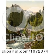 Photochrom Of Moulins Bridge And Dent Du Midi Switzerland Royalty Free Historical Stock Photography by JVPD