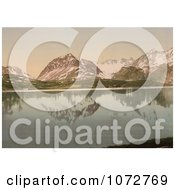 Photochrom Of Mountains Reflecting In Lyngenfjord Royalty Free Historical Stock Photography