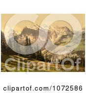 Photochrom Of Mountains Wengrenalp Bernese Oberland Switzerland Royalty Free Historical Stock Photography
