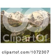Photochrom Of Murren In The Swiss Alps Royalty Free Historical Stock Photography by JVPD