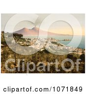 Photochrom Of Naples And Mount Vesuvius Italy Royalty Free Historical Stock Photo
