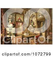Photochrom Of Neuschwanstein Castle Dining Room Royalty Free Historical Stock Photography