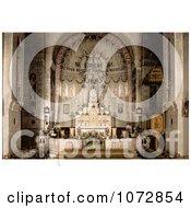 Photochrom Of Notre Dame DAfrique Basilica Interior Algiers Algeria Royalty Free Historical Stock Photography