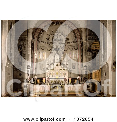 Photochrom of Notre Dame d'Afrique Basilica Interior, Algiers, Algeria - Royalty Free Historical Stock Photography by JVPD
