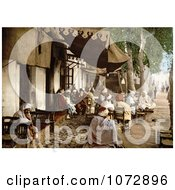 Photochrom Of Outdoor Moorish Cafe In Tunis Tunisia Royalty Free Historical Stock Photography by JVPD