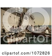 Photochrom Of Passengers Boarding Off Of A Ship Algeria Royalty Free Historical Stock Photography