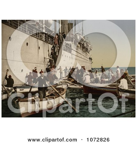 Photochrom of Passengers Boarding Off of a Ship, Algeria - Royalty Free Historical Stock Photography by JVPD