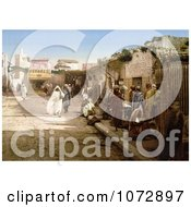 Photochrom Of Pedestrians On Marr Street Tunis Tunisia In 1899 Royalty Free Historical Stock Photography