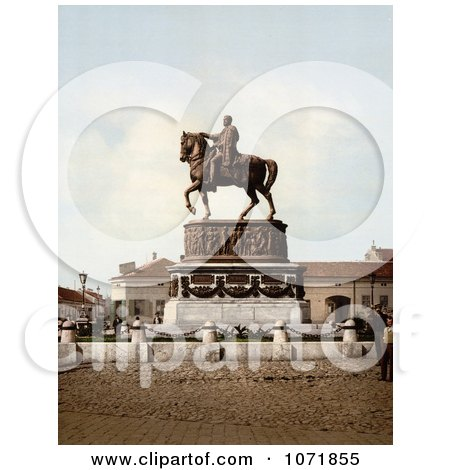 Photochrom of People at Prince Michael's Monument in Belgrade, Serbia - Royalty Free Historical Stock Photo by JVPD