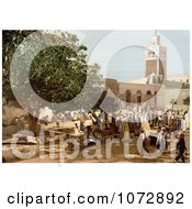 Photochrom Of People At The Kasbah Market Tunis Tunisia Royalty Free Historical Stock Photography