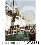 Photochrom Of People Boarding On Smaller Boats Leaving A Big Ship Algeria Royalty Free Historical Stock Photography by JVPD