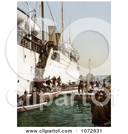 Photochrom of People Boarding on Smaller Boats, Leaving a Big Ship, Algeria - Royalty Free Historical Stock Photography by JVPD