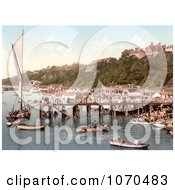 Photochrom Of People Crowding The Busy East Parade Promenade To View A Yacht In Southend On Sea Essex England UK Royalty Free Historical Stock Photography