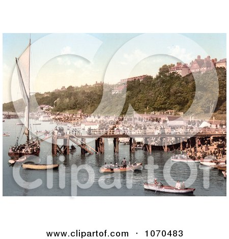 Photochrom of People Crowding The Busy East Parade Promenade To View A Yacht In Southend-On-Sea Essex England UK - Royalty Free Historical Stock Photography by JVPD