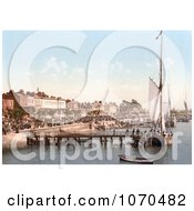 Photochrom Of People Crowding The Busy East Parade Promenade To View Yachts In Southend On Sea Essex England UK Royalty Free Historical Stock Photography