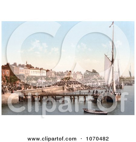 Photochrom of People Crowding The Busy East Parade Promenade To View Yachts In Southend-On-Sea Essex England UK - Royalty Free Historical Stock Photography by JVPD