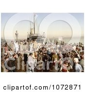 Photochrom Of People Disembarking A Ship Algiers Algeria Royalty Free Historical Stock Photography