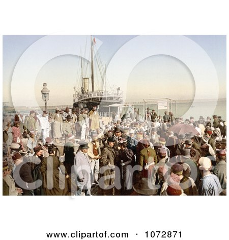 Photochrom of People Disembarking a Ship, Algiers, Algeria - Royalty Free Historical Stock Photography by JVPD
