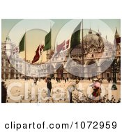 Photochrom Of People Feeding Birds In St MarkS Square Royalty Free Historical Stock Photography