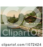 Photochrom Of People In A Boat Near A House Brienz Lake Royalty Free Historical Stock Photography by JVPD