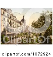 Photochrom Of People In Grand Hotel VictoriaS Garden Interlaken Royalty Free Historical Stock Photography