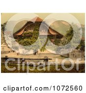 Photochrom Of People In The Courtyard Of A Chalet Suisse Royalty Free Historical Stock Photography