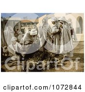 Photochrom Of People In The Market Biskra Algeria Royalty Free Historical Stock Photography