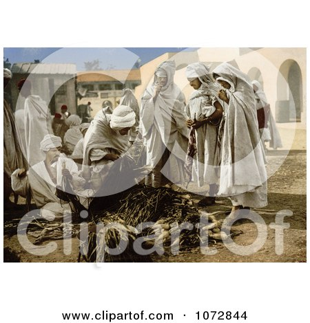 Photochrom of People in the Market, Biskra, Algeria - Royalty Free Historical Stock Photography by JVPD