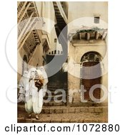 Photochrom Of People In Traditional Dress Algiers Algeria Royalty Free Historical Stock Photography