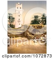 Photochrom Of People Near The Mosque Biskra Algeria Royalty Free Historical Stock Photography