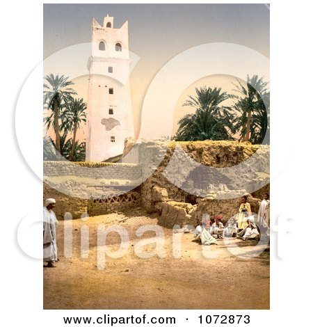 Photochrom of People Near the Mosque, Biskra, Algeria - Royalty Free Historical Stock Photography by JVPD