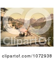 Photochrom Of People On A Balcony Near Mountains Switzerland Royalty Free Historical Stock Photography