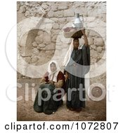 Photochrom Of People On A Sidewalk In Jerusalem Israel Royalty Free Historical Stock Photography